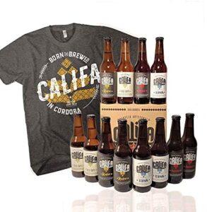 Pack de cervezas artesanas Califa, desde Córdoba. Incluye camiseta Hombre talla L. IPA, Trigo Limpio, Rubia Blonde Ale y Morena Amber Ale